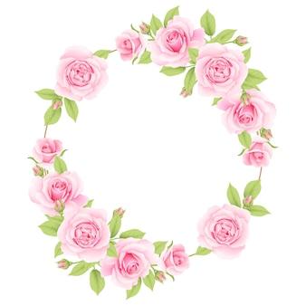 ピンクのバラの花のフレームの背景