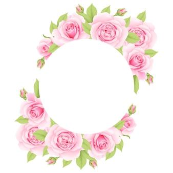 핑크 장미와 꽃 프레임 배경