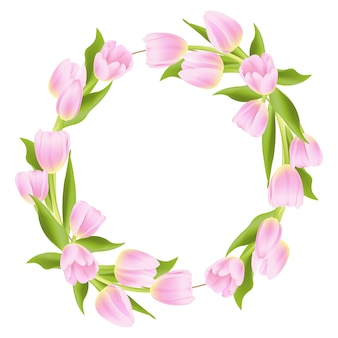Floral frame background with pink tulip