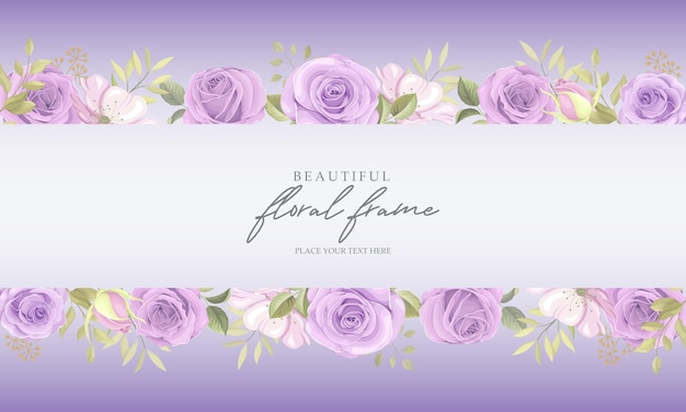 보라색 장미와 꽃 프레임 배경