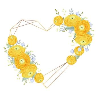 Floral frame background with ranunculus flower