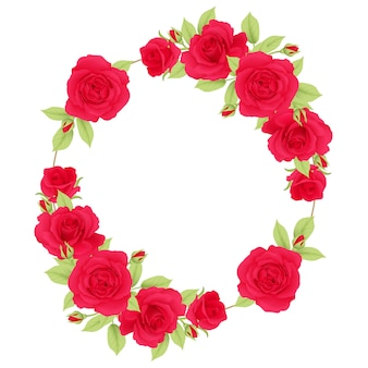 Floral frame background with red roses