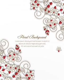 Floral frame background with red touches