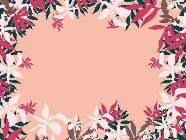 テキスト用のスペースと花のフレームの背景。