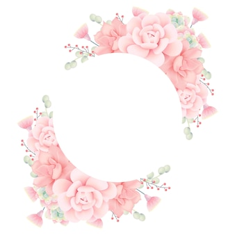 Floral frame background with succulents