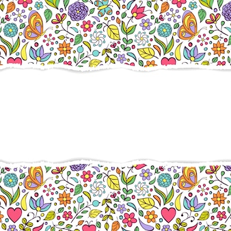 Floral frame background with torn paper