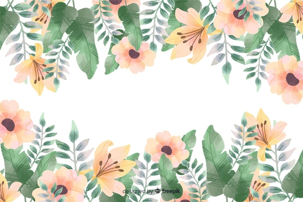 Floral frame background with watercolor design