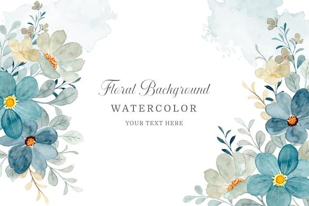 水彩で花のフレームの背景