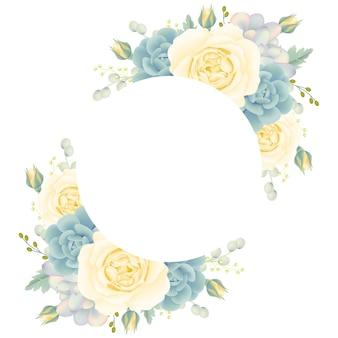 흰 장미와 즙이 많은 꽃 프레임 배경