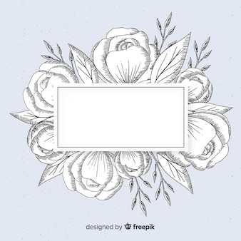 Floral frame banner realistic hand drawn on blue background