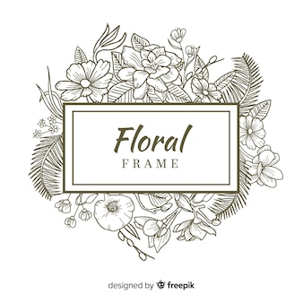 Floral frame banner realistic hand drawn