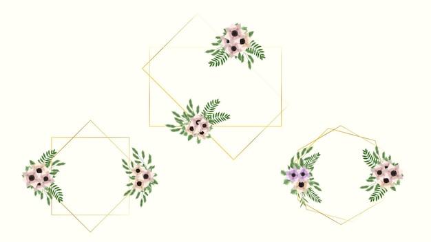 結婚式の招待状の花のラベルが付いている花のフレームカードテンプレート