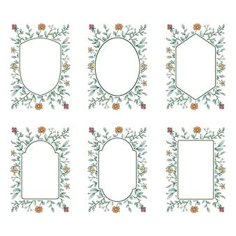 花のフレームコレクション、デジタル色の手描きの線