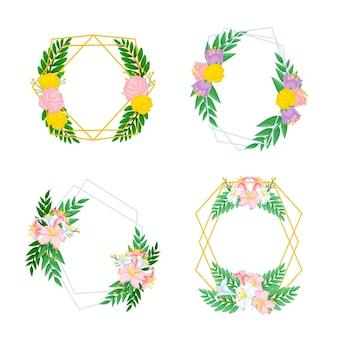 Collezione di cornice floreale disegnata a mano