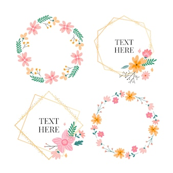Floral frame collection. set of cute retro flowers arranged in a wreath  shape