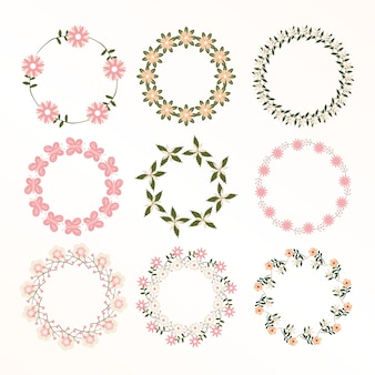 Floral frame collection. set of cute retro flowers wreath