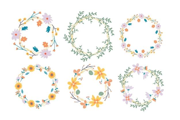 フローラルフレームコレクション。花輪を配置したかわいいレトロな花のセット