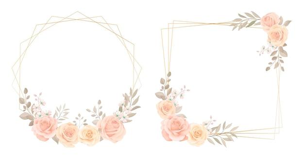 バラとユーカリの葉の装飾品と花のフレームコレクション