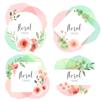 Floral frame collection with watercolor splashes