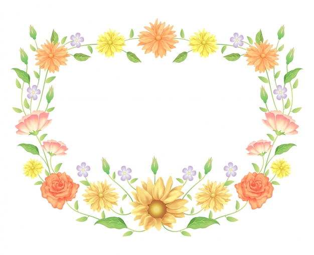花のフレームのカラフルで美しいバラの花と葉のテンプレート装飾。