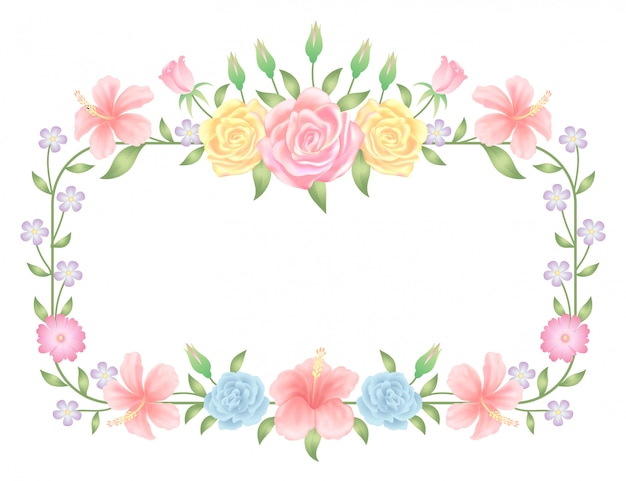 花のフレームカラフルで美しいバラの花と葉のテンプレート装飾。