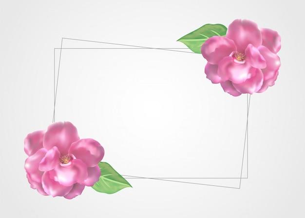 꽃 프레임 화려 하 고 아름 다운 장미 꽃과 나뭇잎 템플릿 장식. 프리미엄 벡터