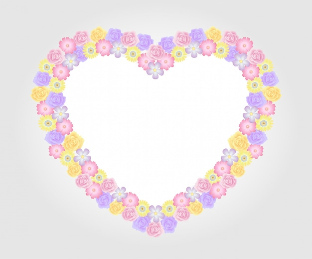 花のフレームカラフルで美しいバラの花テンプレート装飾。