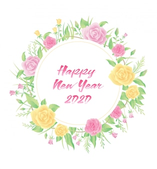 Floral frame colorful design with new year text