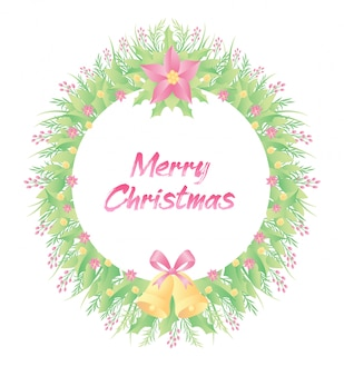 Floral frame colorful flowers, bell and grass with merry christmas text