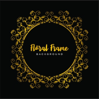Floral frame decorative in golden color for luxury designs