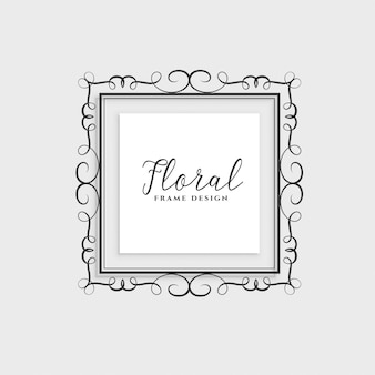 Floral frame design on gray background
