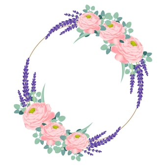 Floral frame design with ranunculus rose and lavender flowers.