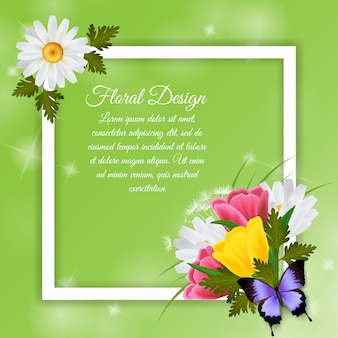 Floral frame design with text template