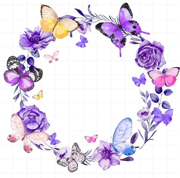 수채화로 그린 꽃 프레임