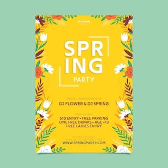 Floral frame flat design spring party poster