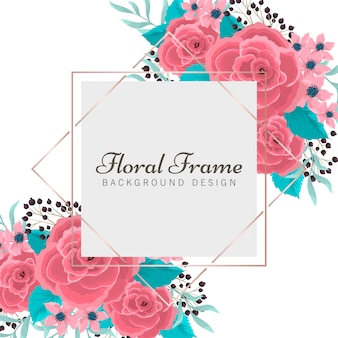Floral frame flat style