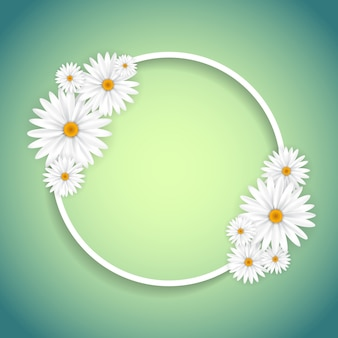 Floral frame on a green background