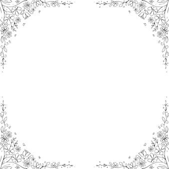 Floral frame hand drawn