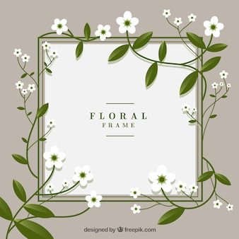 Floral frame in flat style