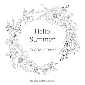 Floral frame in hand drawn style