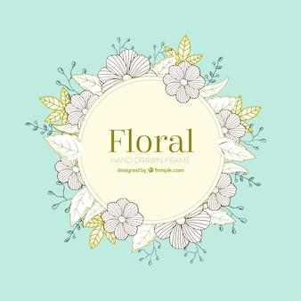 手描きのスタイルで花のフレーム