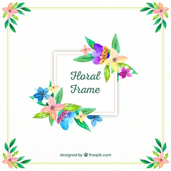 Floral frame in watercolor style