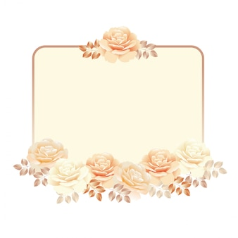 Floral frame for invitation background. pearl color yellow rose vector illustration