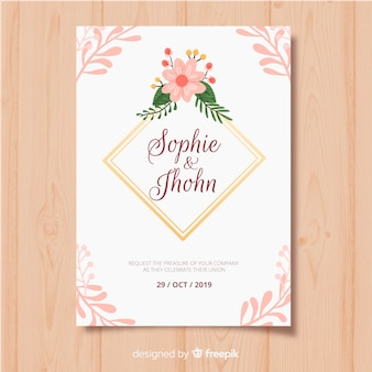 Floral frame invitation card template