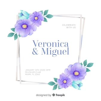Floral frame invitation card template