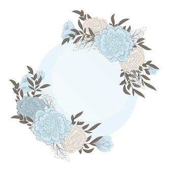 꽃 프레임-하늘색 꽃