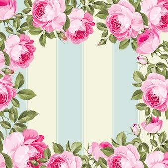 Floral frame on lines blue and beige