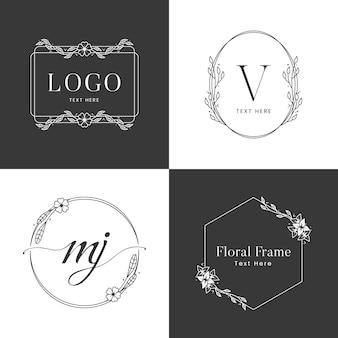 黒と白の花のフレームのロゴのテンプレート