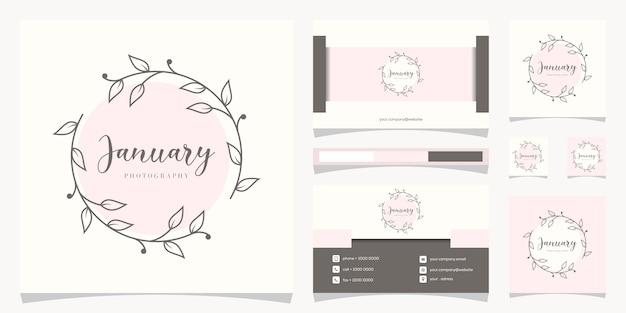 Цветочная рамка с логотипом с дизайном логотипа визитной карточки