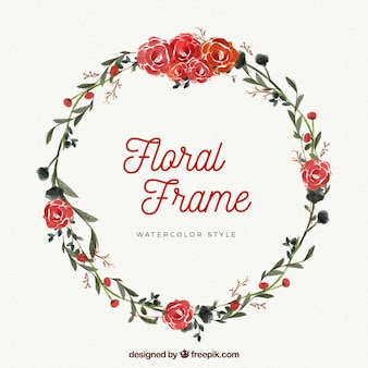 Floral frame made with watercolor